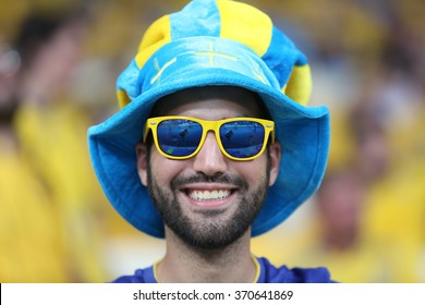 KYIV, UKRAINE - JUNE 19: Swedish national football team supporters show their support  before UEFA EURO 2012 game  on Olympic stadium (NSC Olimpiysky) on June 19, 2012 in Kyiv, Ukraine.
