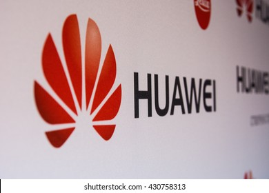 KYIV, UKRAINE - JUNE 2, 2016 : The new HUAWEI P9 and LEICA logo on the stand during the official presentation in Hilton Hotel Kyiv, Ukraine.