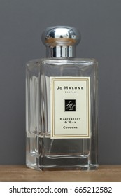 KYIV, UKRAINE - June, 2017: bottle niche odeolon Jo Malone. Jo Malone London is famous for its expensive perfumes, luxurious candles, bath products and room fragrances.