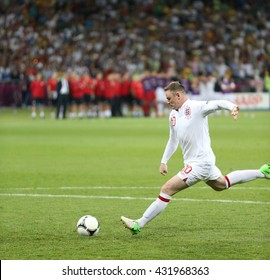 KYIV, UKRAINE - JUNE 24, 2012: Wayne Rooney of England scores a penalty kick during UEFA EURO 2012 Quarter-final game against Italy at Olympic stadium in Kyiv, Ukraine