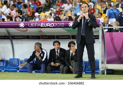 KYIV, UKRAINE - JUNE 24: Head coach of Italy national football team Cesare Prandelli looks on during UEFA EURO 2012 game against England on June 24, 2012 in Kyiv, Ukraine