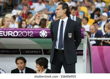 KYIV, UKRAINE - JUNE 24: Head coach of Italy national football team Cesare Prandelli looks on during UEFA EURO 2012 game against England on June 24, 2012 in Kyiv, Ukraine