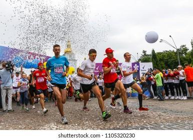 KYIV, UKRAINE - JUNE 3, 2018: Start of the 26th Kyiv Chestnut Charity Run 2018
