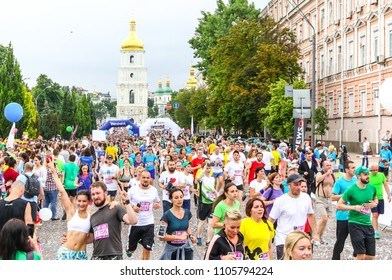 KYIV, UKRAINE - JUNE 3, 2018: Athletes and amateurs run on the streets during the 26th Kyiv Chestnut Charity Run 2018
