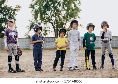 Kyiv, Ukraine - June 3, 2020: A young team of baseball players is waiting for the start of the baseball game