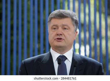 KYIV, UKRAINE - JUNE, 5, 2015: President of Ukraine Petro Poroshenko during his press conference on the occasion of the annual Message to parliament