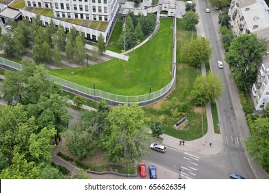 KYIV, UKRAINE - JUNE 8, 2017: Forensics officers investigate the site of an explosion in the US embassy. An unidentified perpetrator threw an explosive device onto the territory.