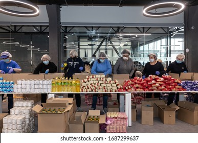 Kyiv, Ukraine - Mar. 27, 2020: Coronavirus epidemic in Ukraine and help to the poor. 3 thousand food packages from the Poroshenko Foundation sent to pensioners and people with disabilities