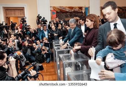 KYIV, UKRAINE - Mar 31, 2019: Elections in Ukraine. President of Ukraine Petro Poroshenko voted on election of president of Ukraine. The process of voting at a polling station.