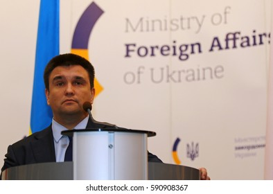 KYIV, UKRAINE - MARCH 1, 2017: Foreign Minister of Ukraine Pavlo Klimkin looks on during a speech during Joint press conference of Foreign Ministers of Ukraine, Great Britain and Poland