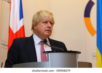 KYIV, UKRAINE - MARCH 1, 2017: Boris Johnson, Secretary of State for Foreign Affairs of UK, takes a speech during Joint press conference of Foreign Ministers of Ukraine, UK and Poland