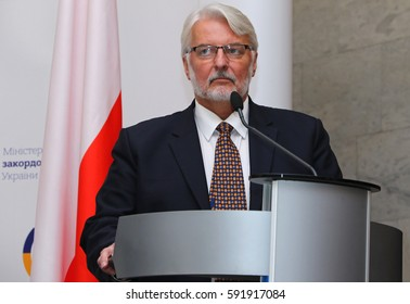 KYIV, UKRAINE - MARCH 1, 2017: Foreign Minister of Poland Witold Waschykovskyi looks on a speech during Joint press conference of Foreign Ministers of Ukraine, Great Britain and Poland