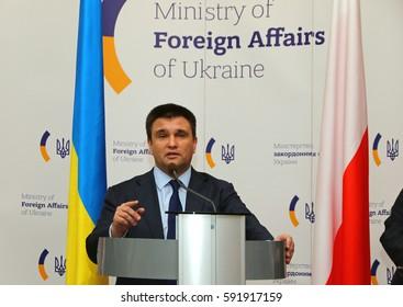 KYIV, UKRAINE - MARCH 1, 2017: Foreign Minister of Ukraine Pavlo Klimkin takes a speech during Joint press conference of Foreign Ministers of Ukraine, Great Britain and Poland