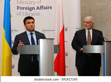 KYIV, UKRAINE - MARCH 1, 2017: Foreign Minister of Ukraine Pavlo Klimkin (L) and Foreign Minister of Poland Witold Waschykovskyi during joint press conference in Kiev
