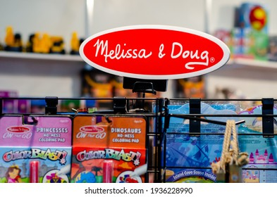 Kyiv, Ukraine - March 10, 2021: Melissa and Doug toys for sale in the store