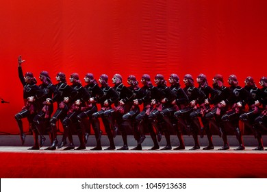 "KYIV, UKRAINE - MARCH 11, 2018: Concert of Georgian National Ballet ""Sukhishvili"" during the performance on stage"