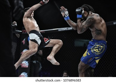 Kyiv, Ukraine -March 13, 2017: mma fighters fight at the ring fight at the championship in Palace of sport in Kiev, Ukraine