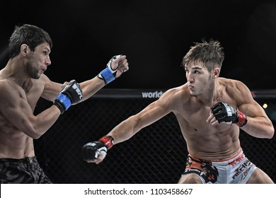 Kyiv, Ukraine -March 13, 2017: mma fighters fight at the ring fight at the championship in Palace of sport in Kiev, Ukraine power sport and fitness, brutal man pain concept