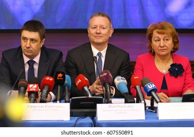 KYIV, UKRAINE - MARCH 14, 2017: Jon Ola Sand (in Center), European Broadcasting Union's Executive Supervisor of the Eurovision Song Contest during Press briefing of Eurovision 2017 Core Team in Kyiv