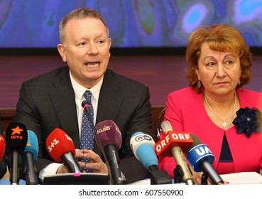 KYIV, UKRAINE - MARCH 14, 2017: Jon Ola Sand, European Broadcasting Union's Executive Supervisor (L) and Hanna Bychok, Head of TV channel UA:Pershyi during Press briefing of Eurovision 2017 Core Team