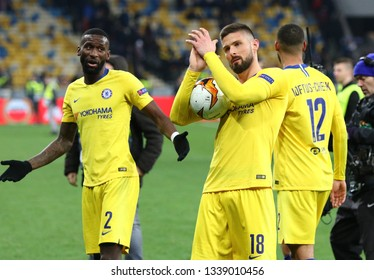 KYIV, UKRAINE - MARCH 14, 2019: Olivier Giroud of Chelsea, most valuable player (MVP) of the UEFA Europa League game against FC Dynamo Kyiv. Chelsea won 5-0, Giroud scored 3