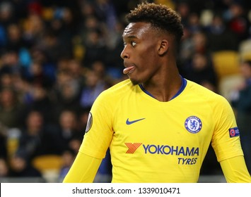 KYIV, UKRAINE - MARCH 14, 2019: Portrait of player Callum Hudson-Odoi of Chelsea during the UEFA Europa League game against FC Dynamo Kyiv at NSC Olimpiyskyi stadium in Kyiv, Ukraine. Chelsea won 5-0