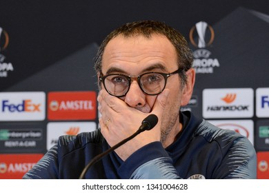 KYIV, UKRAINE - MARCH 14, 2019: Chelsea manager Maurizio Sarri attends press-conference after the UEFA Europa League game against FC Dynamo Kyiv at NSC Olimpiyskyi stadium in Kyiv, Ukraine