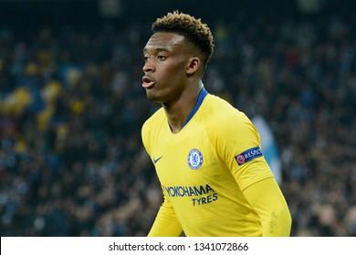 KYIV, UKRAINE - MARCH 14, 2019: Callum Hudson-Odoi of Chelsea during the UEFA Europa League game against FC Dynamo Kyiv at NSC Olimpiyskyi stadium in Kyiv, Ukraine. Chelsea won 5-0
