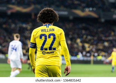 Kyiv, Ukraine - March 14, 2019: Willian of Chelsea during UEFA Europa League match against Dynamo Kyiv at NSC Olimpiyskiy stadium.