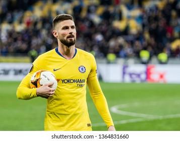 Kyiv, Ukraine - March 14, 2019: Olivier Giroud portrait of Chelsea during UEFA Europa League match against Dynamo Kyiv at NSC Olimpiyskiy stadium.