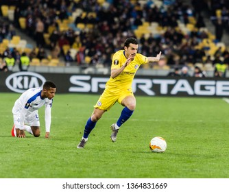 Kyiv, Ukraine - March 14, 2019: Pedro of Chelsea in action during UEFA Europa League match against Dynamo Kyiv at NSC Olimpiyskiy stadium.