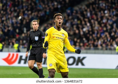 Kyiv, Ukraine - March 14, 2019: Callum Hudson-Odoi of Chelsea celebtrates scoring a goal during UEFA Europa League match against Dynamo Kyiv at NSC Olimpiyskiy stadium.