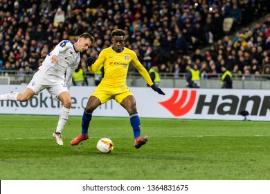 Kyiv, Ukraine - March 14, 2019: Callum Hudson-Odoi of Chelsea in action during UEFA Europa League match against Dynamo Kyiv at NSC Olimpiyskiy stadium.