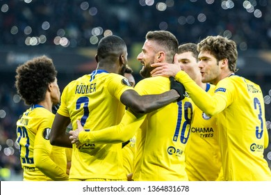 Kyiv, Ukraine - March 14, 2019: Playersi of Chelsea celebtrates scoring a goal during UEFA Europa League match against Dynamo Kyiv at NSC Olimpiyskiy stadium.