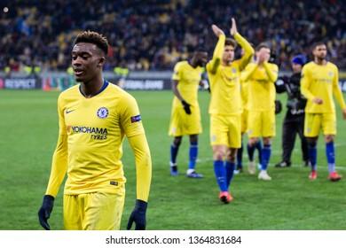 Kyiv, Ukraine - March 14, 2019: Playersi of Chelsea celebtrates their victory in UEFA Europa League match against Dynamo Kyiv at NSC Olimpiyskiy stadium.
