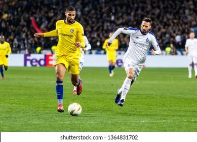 Kyiv, Ukraine - March 14, 2019: Ruben Loftus-Cheek of Chelsea in action during UEFA Europa League match against Dynamo Kyiv at NSC Olimpiyskiy stadium.