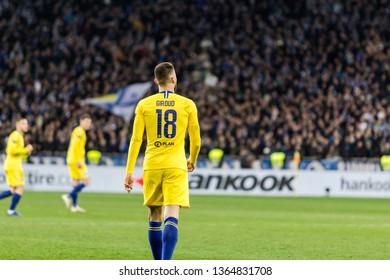 Kyiv, Ukraine - March 14, 2019: Olivier Giroud of Chelsea during UEFA Europa League match against Dynamo Kyiv at NSC Olimpiyskiy stadium.