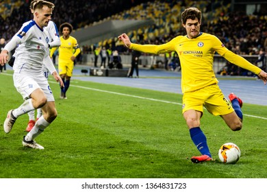 Kyiv, Ukraine - March 14, 2019: Marcos Alonso of Chelsea in action during UEFA Europa League match against Dynamo Kyiv at NSC Olimpiyskiy stadium.