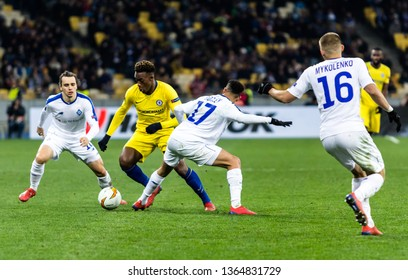 Kyiv, Ukraine - March 14, 2019: Players in action during UEFA Europe League match Dynamo Kyiv – Chelsea at NSC Olimpiyskiy stadium.