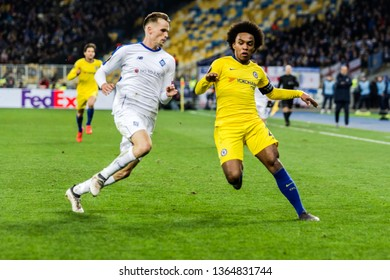 Kyiv, Ukraine - March 14, 2019: Willian of Chelsea in action during UEFA Europa League match against Dynamo Kyiv at NSC Olimpiyskiy stadium.