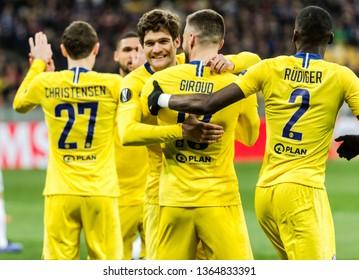 Kyiv, Ukraine - March 14, 2019: Olivier Giroud of Chelsea celebrates scoring a goal during UEFA Europa League match against Dynamo Kyiv at NSC Olimpiyskiy stadium.