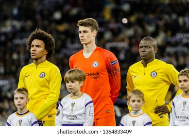 Kyiv, Ukraine - March 14, 2019: Chelsea players before the start of UEFA Europa League match against Dynamo Kyiv at NSC Olimpiyskiy stadium.