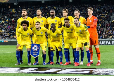 Kyiv, Ukraine - March 14, 2019: Chelsea players team photo before the start of UEFA Europa League match against Dynamo Kyiv at NSC Olimpiyskiy stadium.