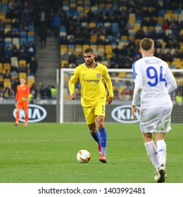 KYIV, UKRAINE - MARCH 14, 2019: UEFA Europa League game FC Dynamo Kyiv v Chelsea at NSC Olimpiyskyi stadium in Kyiv. Ruben Loftus-Cheek of Chelsea in action