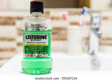 Kyiv, Ukraine - MARCH 14th, 2016: Listerine Original Antiseptic Mouthwash. Listerine is a brand of antiseptic mouthwash, first introduced in 1879.