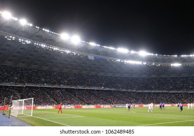 KYIV, UKRAINE - MARCH 15, 2018: Panoramic view of NSK Olimpiyskyi stadium in Kyiv during UEFA Europa League game FC Dynamo Kyiv v Lazio. NSK Olimpiyskyi will host UEFA Champions League 2018 Final
