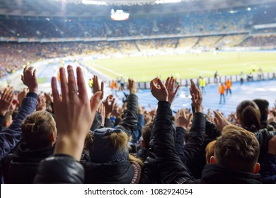 KYIV, UKRAINE - MARCH 15, 2018: Panoramic view of NSK Olimpiyskyi stadium in Kyiv during UEFA Europa League game FC Dynamo Kyiv v Lazio. NSK Olimpiyskyi will host UEFA Champions League 2018 Final