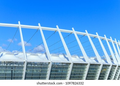 KYIV, UKRAINE - March 17, 2017: The roof of the Olympic Stadium in Kiev, Ukraine