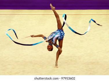 KYIV, UKRAINE - MARCH 18: Ulyana Trofimova (Uzbekistan) performs at Deriugina Cup (Rhythmic Gymnastics World Cup) on March 18, 2012 in Kyiv, Ukraine