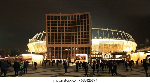 """KYIV, UKRAINE - MARCH 19, 2015: Panorama of Olympic Stadium. UEFA Europa League match between FC DYNAMO KIEV and FC EVERTON at the National Sports Complex """"Olympic"""", Kiev, Ukraine, March 19"""